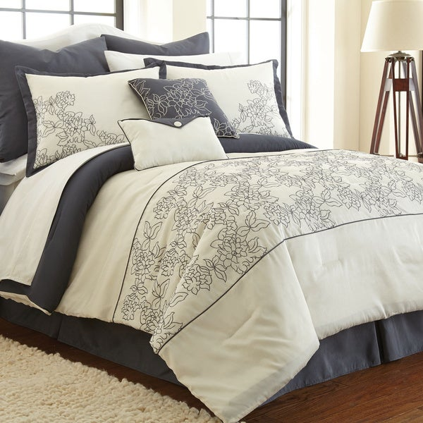 Amraupur Overseas Gwen White/ Grey Floral 8-piece Comforter Set