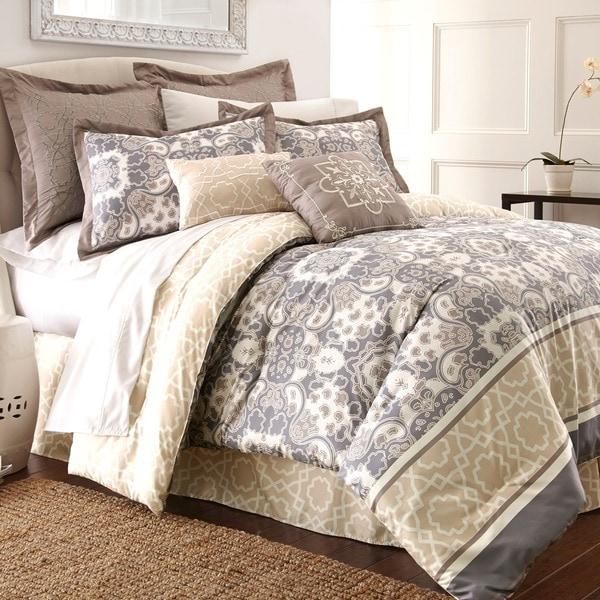 Amraupur Overseas Monica Multicolored Abstract 8-piece Comforter Set