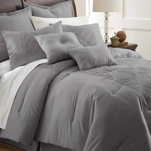 Amraupur Overseas Savannah Grey Embellished 8-piece Comforter Set