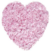 Shaggy Raggy Pink Heart Cotton Shag Rug - 3' x 3'