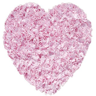 Shaggy Raggy Pink Heart Cotton Shag Rug (3' x 3')