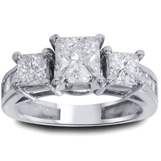 14k White Gold 2ct TDW White Diamond Clarity Enhanced 3-stone Vintage-style Engagement Ring