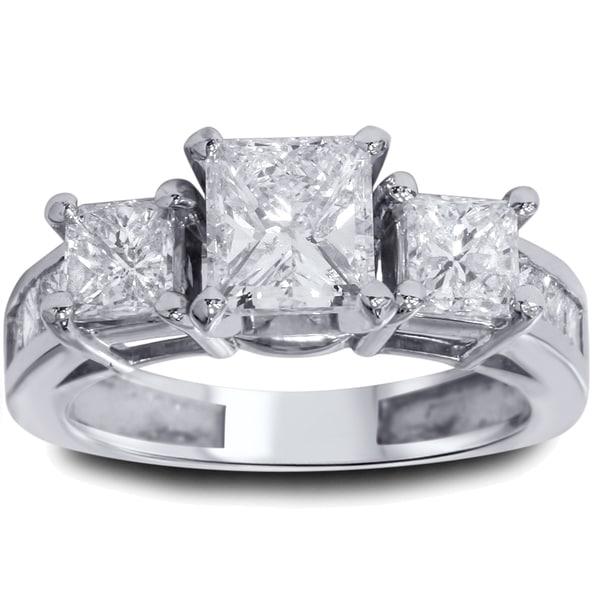 14k White Gold 2 ct TDW Princeess-cut Clarity Enhanced Diamond 3-stone Vintage-style Ring (I-J, I2-I3)