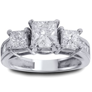 14k White Gold 2 ct TDW Princeess-cut Clarity Enhanced Diamond 3-stone Vintage-style Ring (I-J, I2-I3)
