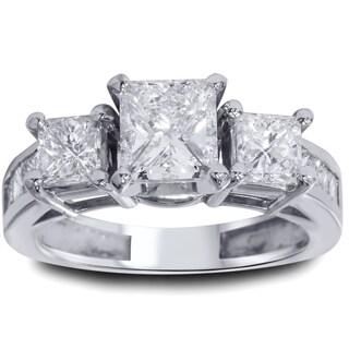 14k White Gold 2ct TDW White Diamond Clarity Enhanced 3-stone Vintage-style Engagement Ring