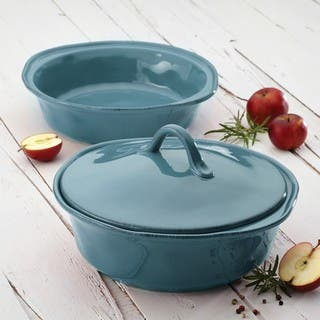 Rachael Ray Cucina Stoneware 3-piece Agave Blue Round Casserole and Lid Set|https://ak1.ostkcdn.com/images/products/9216692/P16385936.jpg?impolicy=medium