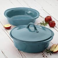 Rachael Ray Cucina Stoneware 3-piece Agave Blue Round Casserole and Lid Set