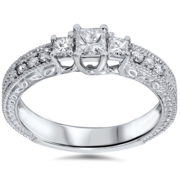 14k White Gold 3/4ct TDW Diamond Vintage-style Ring