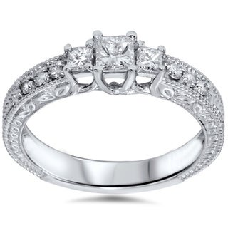 14k White Gold 3/4ct TDW Diamond Vintage-style Ring