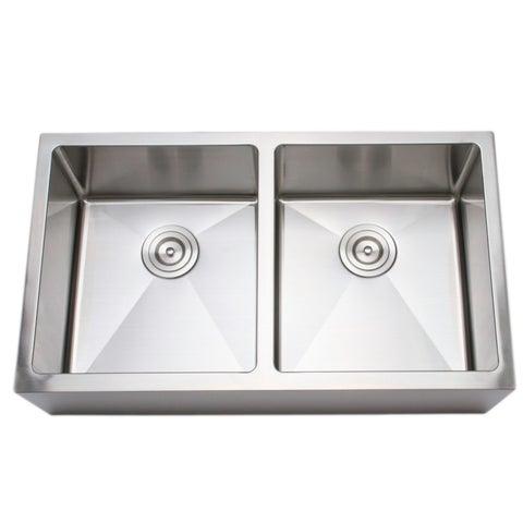 Wells Sinkware 33-inch 16-gauge Undermount 50-50 Farmhouse Apron Front Double Bowl Stainless Steel Kitchen Sink