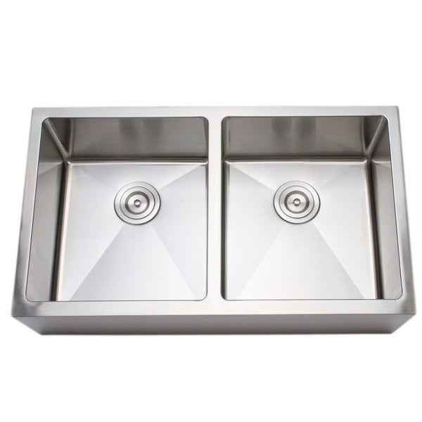 Wells Sinkware 33-inch 16-gauge Undermount 50-50 Farmhouse Apron Front Double Bowl Stainless Steel Kitchen Sink. Opens flyout.