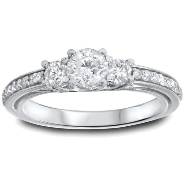 14k white gold 1 14ct tdw diamond 3 stone engagement ring - 3 Stone Wedding Rings
