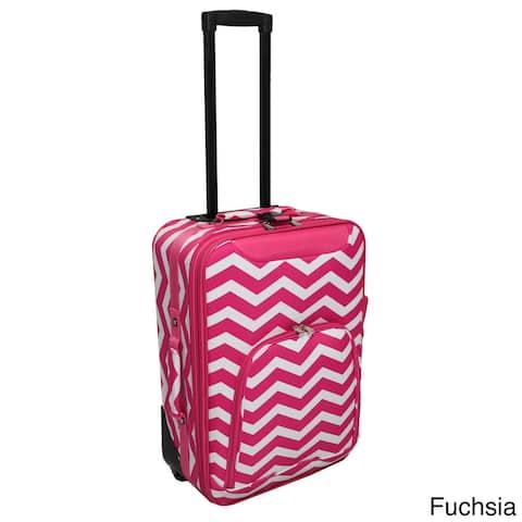 World Traveler Lightweight 20-inch Chevron Carry-on Upright Suitcase