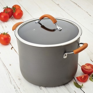Rachael Ray Cucina Hard-Anodized Nonstick 10-quart Covered Stockpot, Grey with Pumpkin Orange Handles