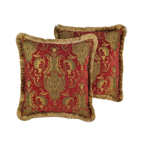 PCHF China Art Red 20-inch Decorative Throw Pillows (Set of 2)