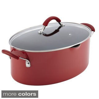 Rachael Ray Cucina Hard Enamel Nonstick 8-quart Covered Oval Pasta Pot with Pour Spout