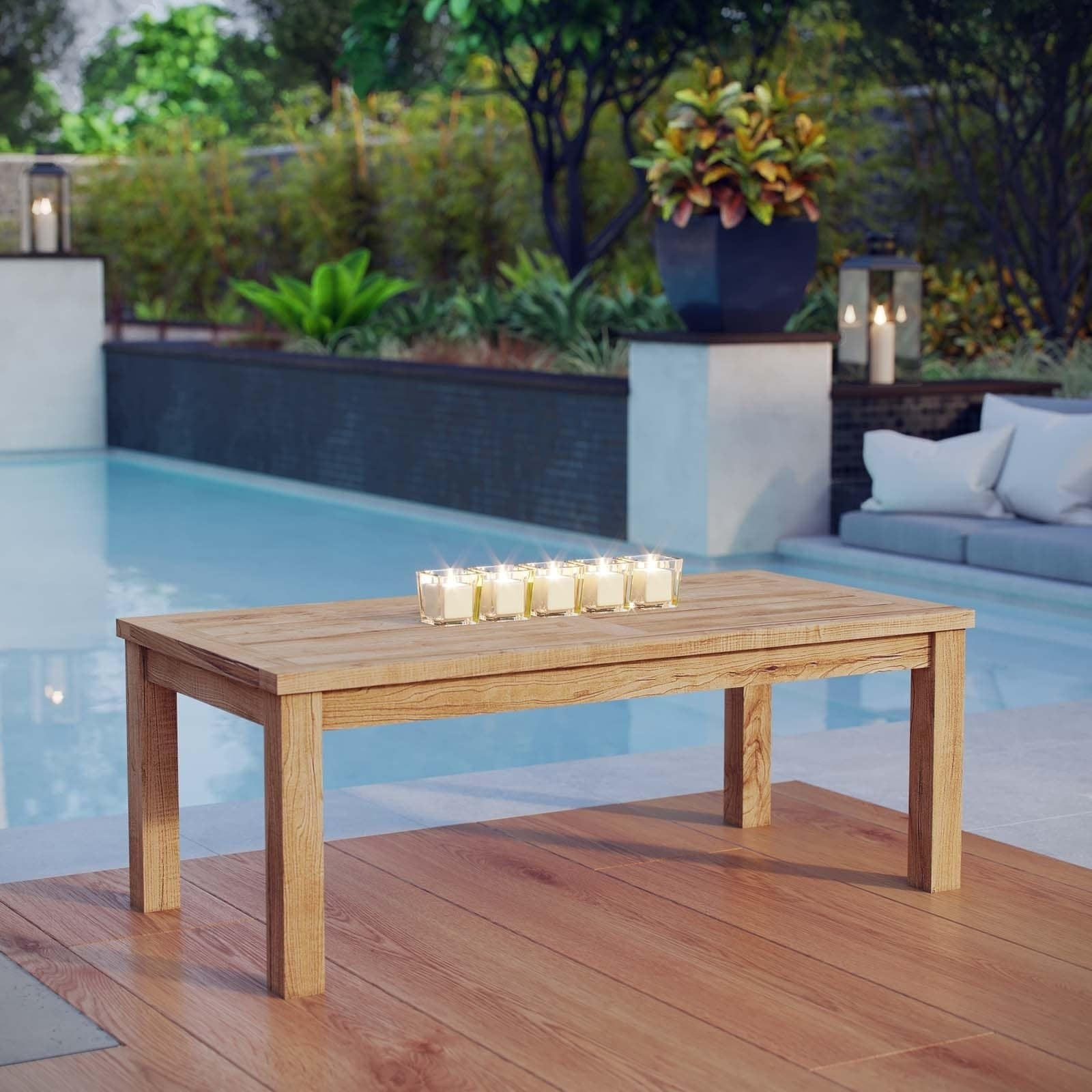 Shop Pier Outdoor Patio Teak Rectangle Coffee Table - Free ...