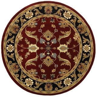 LNR Home Adana Red/ Black Oriental Area Rug (4' Round)