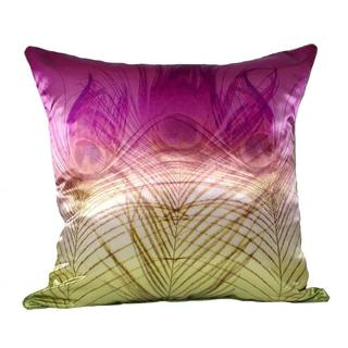 Peacock Satin Pink Gold Ombre Poly-filled Throw Pillow