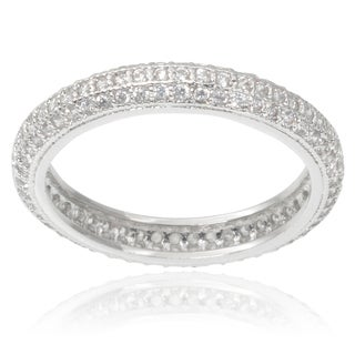 Journee Collection Brass Cubic Zirconia Band (3 mm)