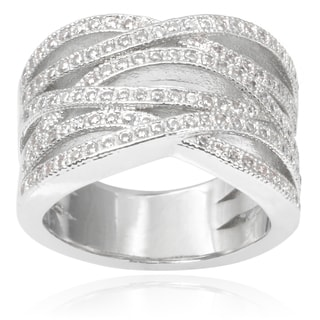 Journee Collection Brass Cubic Zirconia Multi-band Ring