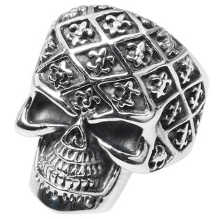 Vance Co. Men's Stainless Steel Fleur-de-lis Skull Ring