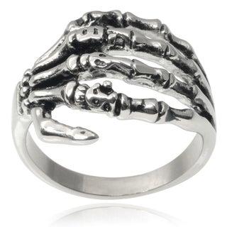 Vance Co. Men's Stainless Steel Skeleton Hand Ring
