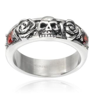 Vance Co. Men's Stainless Steel Cubic Zirconia Rose Skull Ring