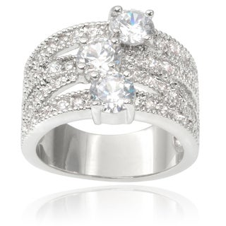 Journee Collection Brass Cubic Zirconia Split-band Ring