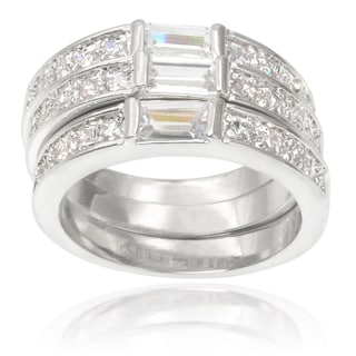 Journee Collection Brass Cubic Zirconia Stackable Ring Set