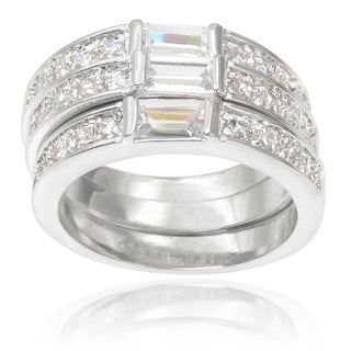 Journee Collection Brass Cubic Zirconia Stackable Ring Set (4 options available)
