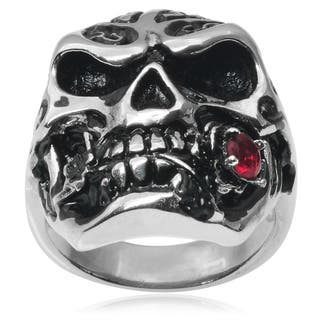 Vance Co. Men's Stainless Steel Cubic Zirconia Skull Ring|https://ak1.ostkcdn.com/images/products/9216872/P16386071.jpg?impolicy=medium