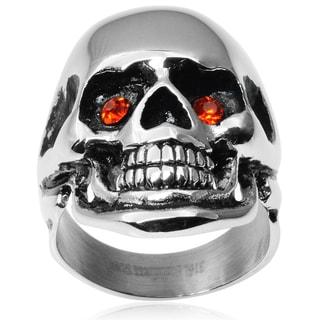 Vance Co. Men's Stainless Steel Cubic Zirconia Skull Ring