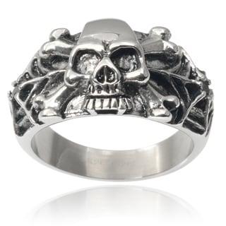 Vance Co. Men's Stainless Steel Cubic Zirconia Spider Web Skull Ring