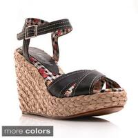 Envy Women's 'Apple Pie' Espadrille Platform Wedge Sandals
