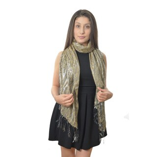 LA 77 Silver and Camel Shimmery Animal Print Scarf