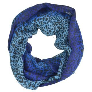 LA 77 Blue and Purple Split-color Animal Print Scarf