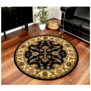 LNR Home Adana Black/ Cream Oriental Area Rug (4' Round) - 4'