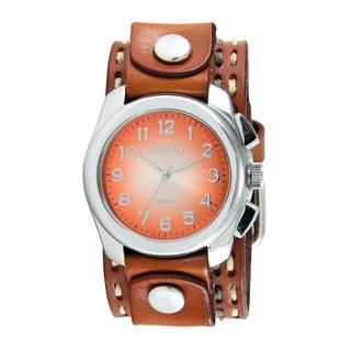 Nemesis Men's Dark Brown Double Stitched Leather Orange Oval Gradient Watch