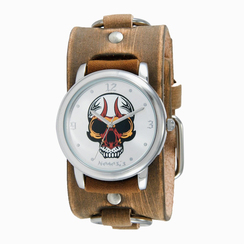 Nemesis Men's Silvertone Skull and Brown Leather Ring Wat...