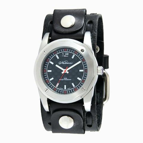 Nemesis Men's Black Elegant WIde Weaving Leather Watch