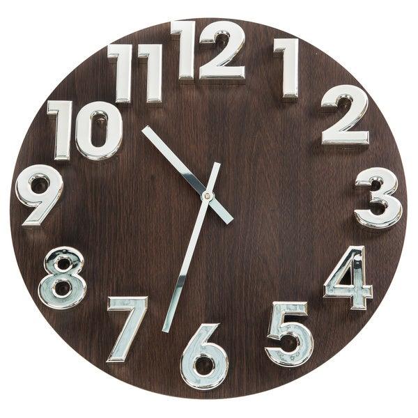 Shop Charle Wood Grain 3d Silvertone Numeral Clock Free