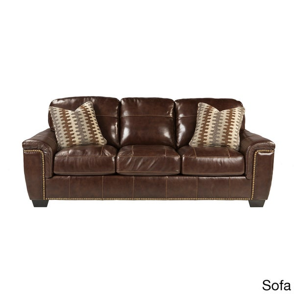 Signature Designs by Ashley Tivona Coffee Leather Sofa  : Signature Designs by Ashley Tivona Coffee Leather Sofa Stationary or Queen Sleeper 55895a4c f011 48aa a058 7a3f4640b285600 from www.overstock.com size 600 x 600 jpeg 27kB