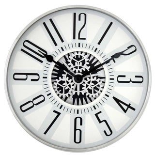 11-inch Silvertone Stainless Steel Rotating Gear Wall Clock