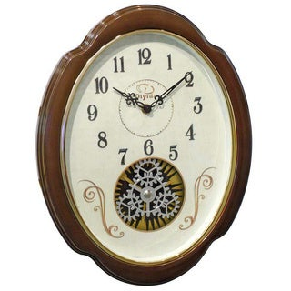 Traditional 15-inch Espresso Rotating Gear Wall Clock