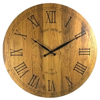 20-inch Vintage Italian Tuscany-style Wooden Wall Clock