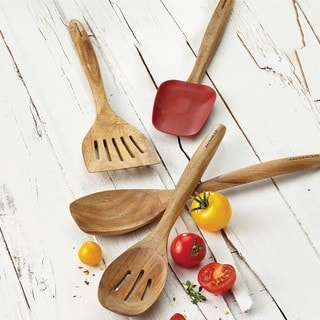 Rachael Ray Cucina Tools 12-1/2-inch Wooden Solid Spoon