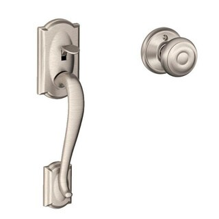 Schlage Camelot Satin Nickel Handleset with Georgian Interior Knob