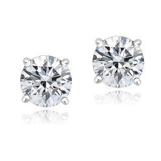 Icz Stonez Platinum-plated Sterling Silver 3ct TGW 100 Facets Cubic Zirconia Stud Earrings