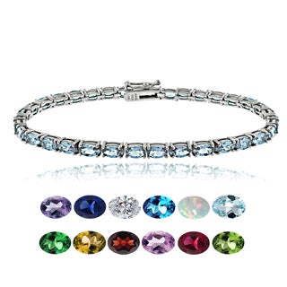 Glitzy Rocks Sterling Silver Gemstone and Cubic Zirconia Birthstone Tennis Bracelet (More options available)